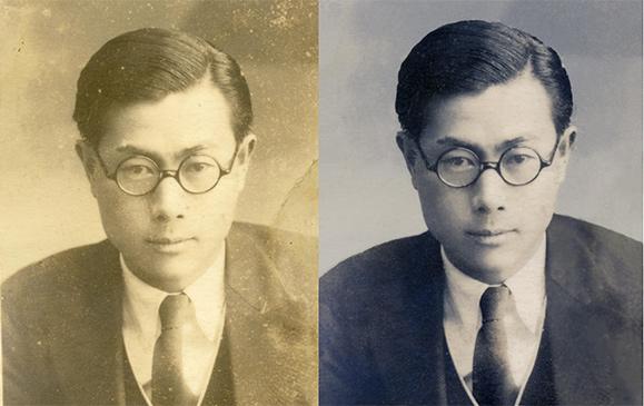 戦前に撮られたお父様の唯一のお写真の修復前と修復後