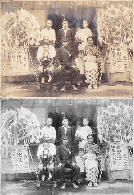 出征の記念写真の修復前と修復後